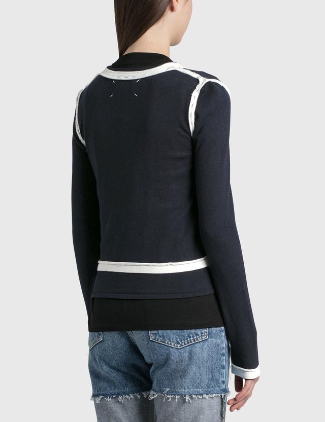 Maison Margiela Twinset Decorative Cardigan Blu Navy+white Women