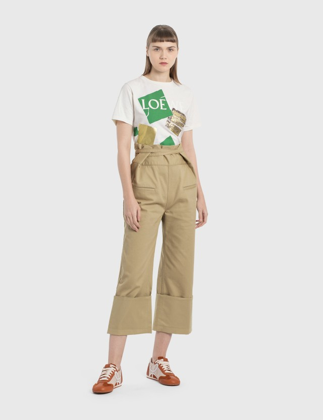 Loewe Oversize Turn Up Trousers Stone Women
