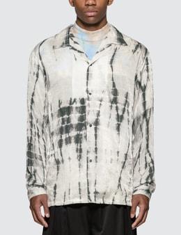 Sasquatchfabrix. Oriental Tie Dye Open Collar Long Sleeve Shirt