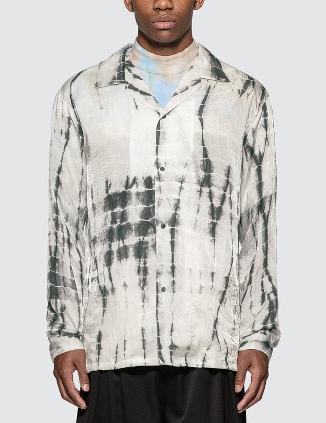 Sasquatchfabrix. Oriental Tie Dye Open Collar Long Sleeve Shirt =e23 Men