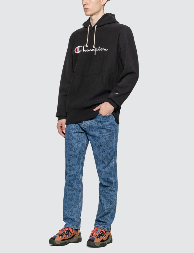 Champion Reverse Weave Big Script Hooded Sweatshirt Black Men