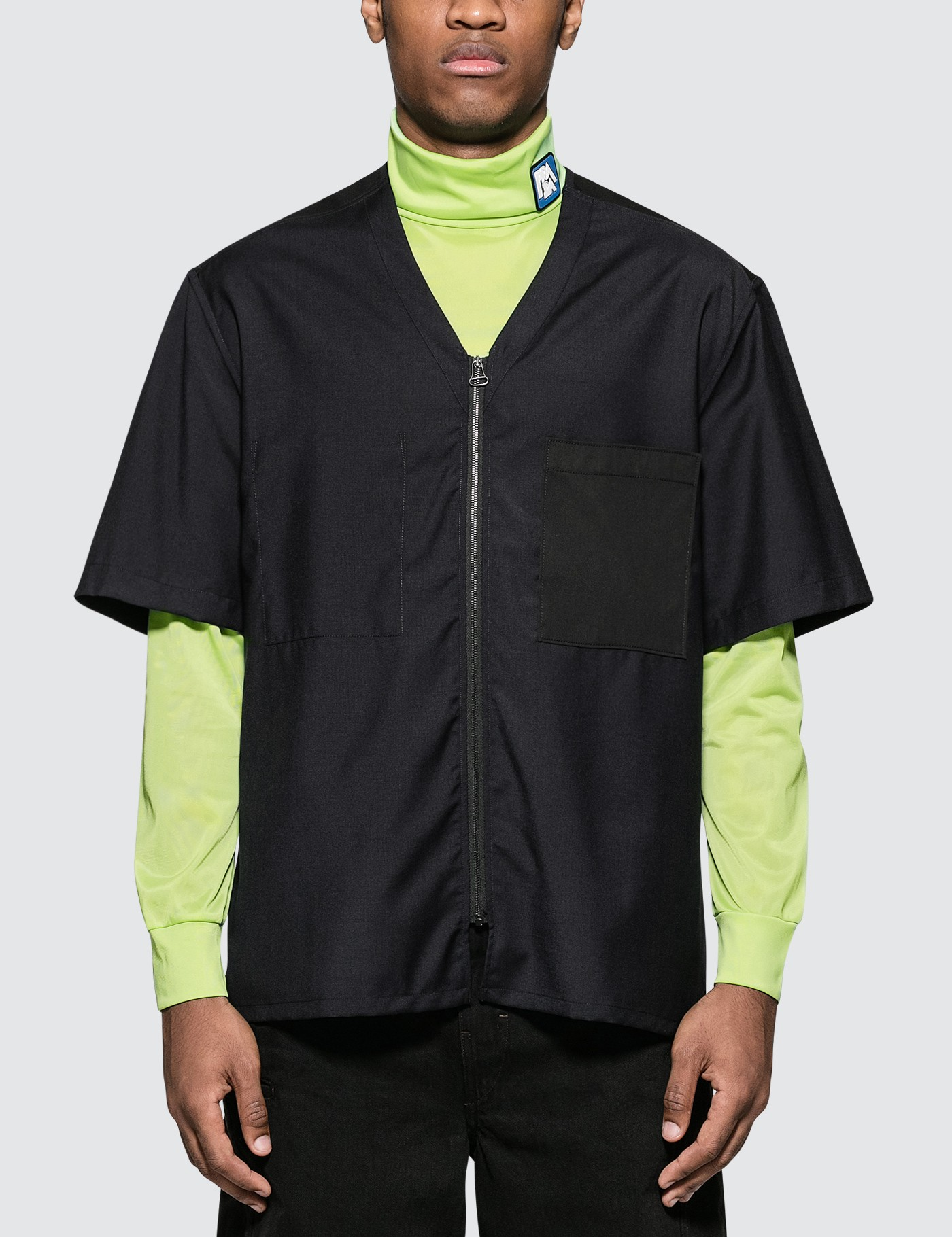 Zipped Shirt with Collar Contrasted Details