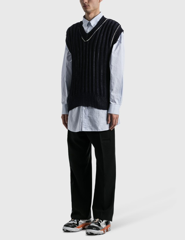 Maison Margiela Oversized Pinstripe Shirt Cerulean Stripe Men