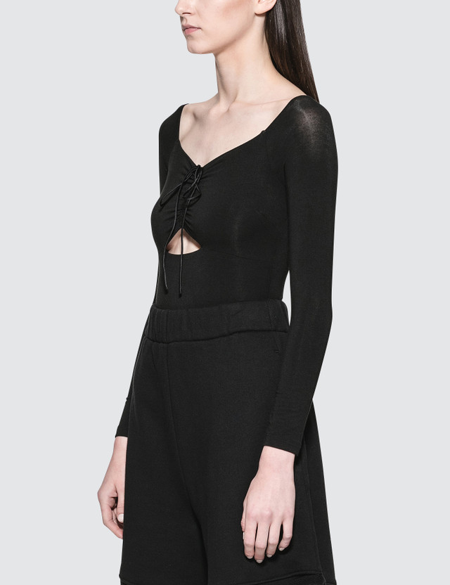 Alexander Wang.T Stretch Jersey Sleeved Bodysuit With Cut Out And Ties