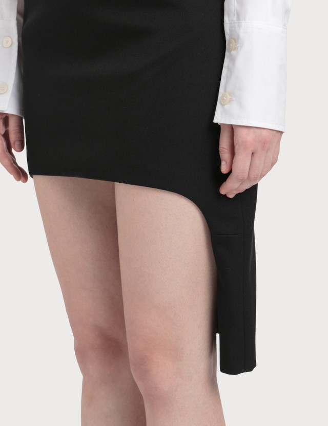 Burberry Grain De Poudre Wool Step-through Skirt