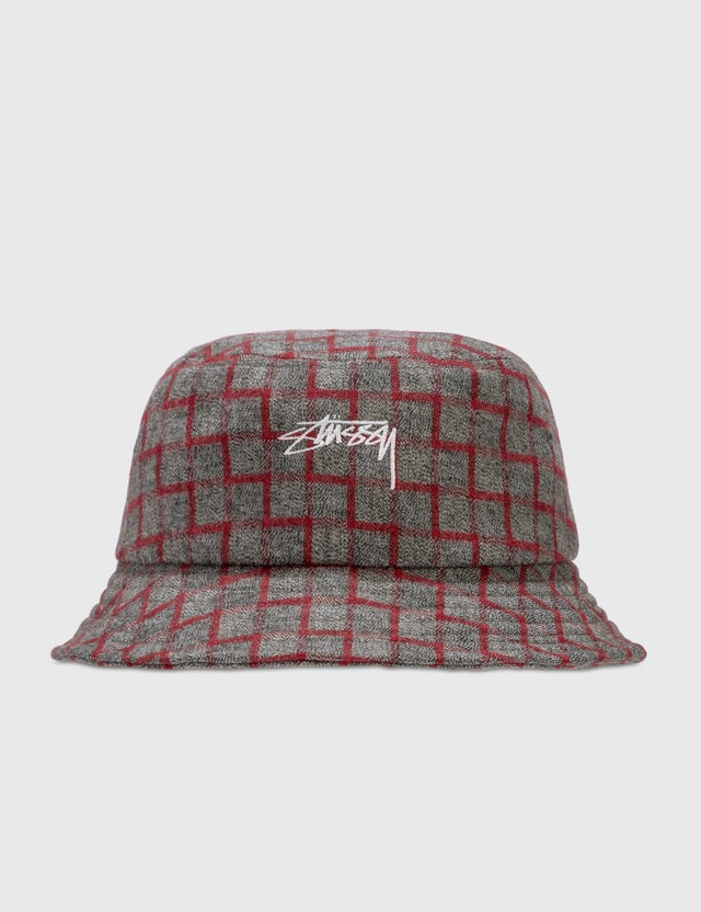 Stussy Brent Check Wool Bucket Hat Red Women