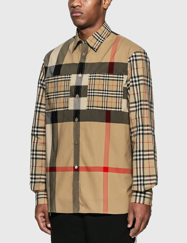 Burberry Patchwork Check Stretch Cotton Oversized Shirt