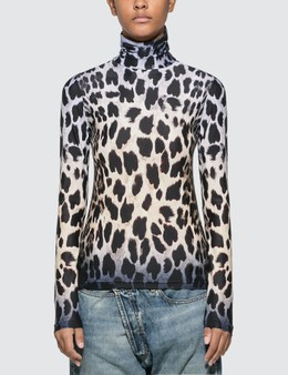 R13 Faded Leopard Turtleneck Top