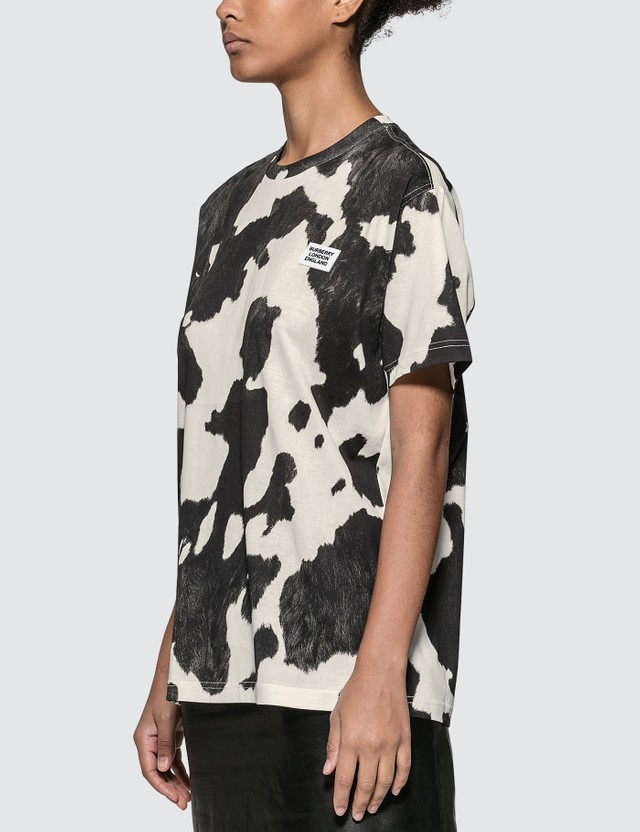 Burberry Logo Detail Cow Print Cotton Oversized T-shirt