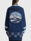 Loewe Oversized Bear Cardigan In Mohair Navy Blue/royal Blue/white Women