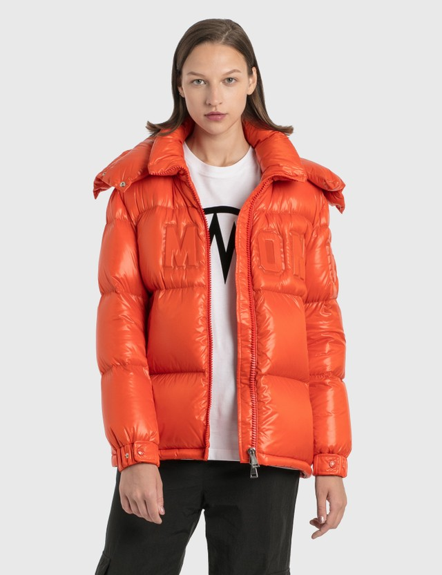 Moncler Embossed Logo Down Jacket Orange Women