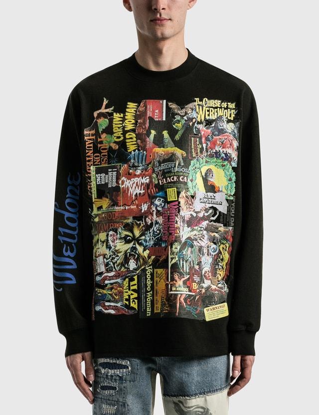 We11done Black Horror Collage Long Sleeve T-shirt Black Men