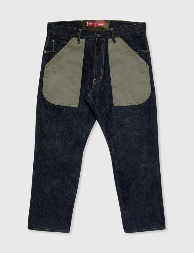 Junya Watanabe Man Junya Watanabe Man X Levi's Olive Patchwork Jeans Denim Archives