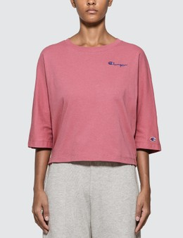 Champion Reverse Weave Back Script Oversized Cropped T-shirt
