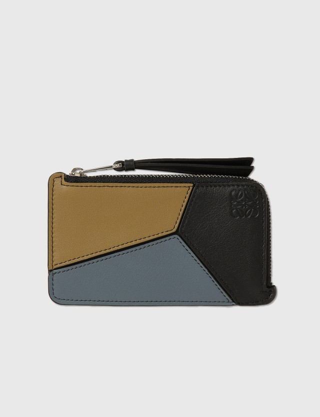 Loewe Puzzle Coin Cardholder Ochre Green/storm Blue Men