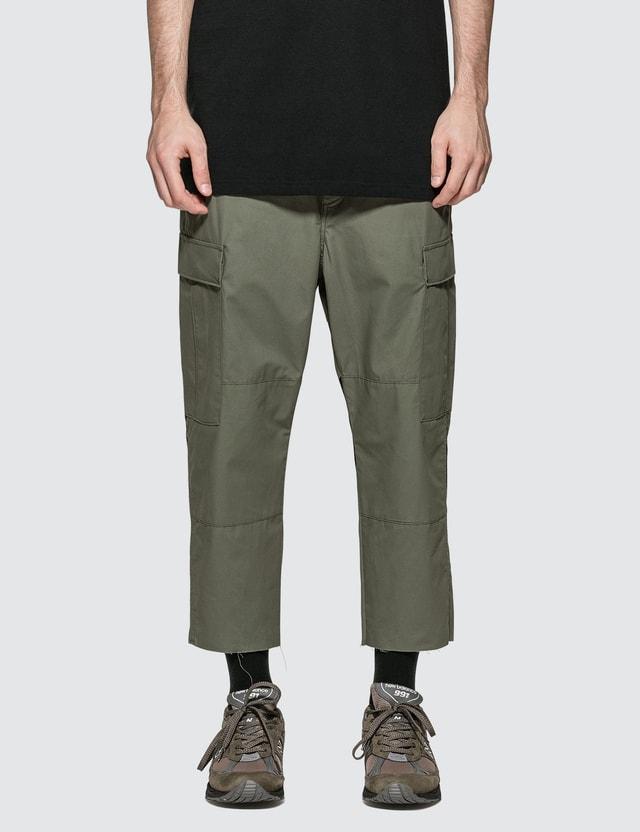 uniform experiment Hem Cut-off Cropped Cargo Pants