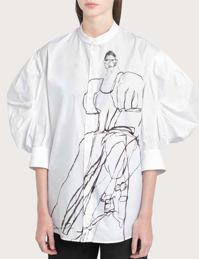 Alexander McQueen Sketch Effect Print Shirt Ivory Black Women