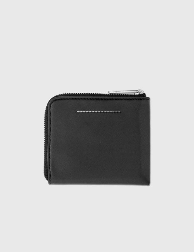 MM6 Maison Margiela Fake Leather Logo Print Zip Wallet Black Women