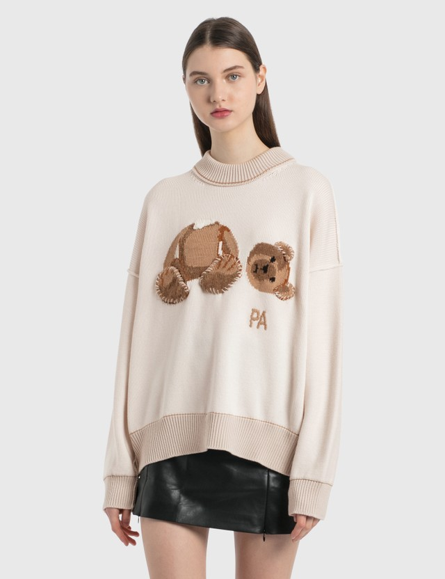 Palm Angels Bear Sweater Off White Brown Women