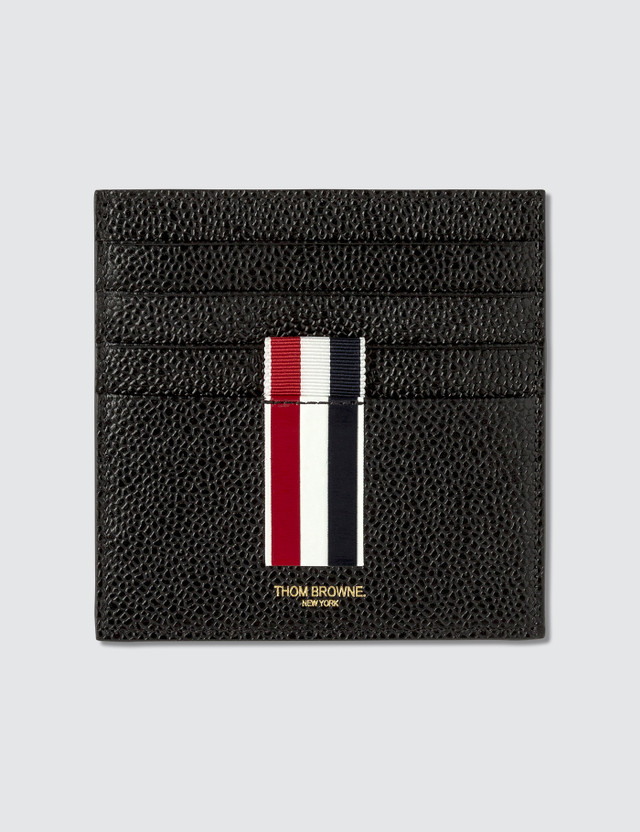 Thom Browne Double Sided Card Holder W/ Note Compartment & RWB GG Intarsia Stripe In Pebble Grain