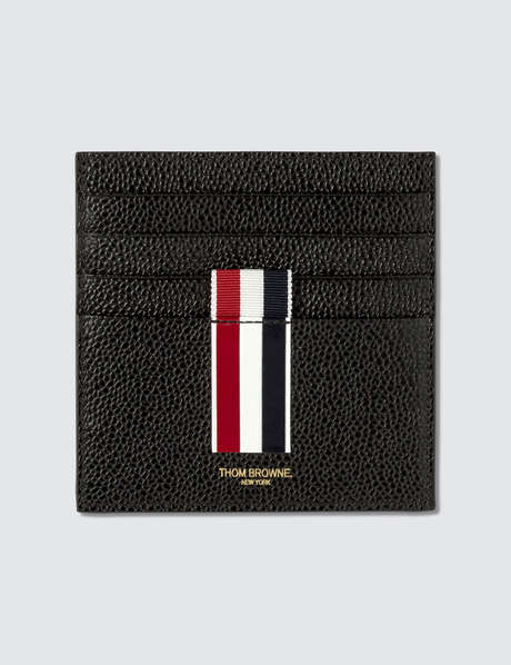 Thom Browne 톰 브라운 Double Sided Card Holder W/ Note Compartment & RWB GG Intarsia Stripe In Pebble Grain