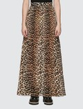 Ganni Leopard Pleated Georgette Maxi Skirt Picutre