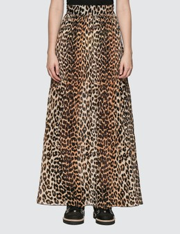 Ganni Leopard Pleated Georgette Maxi Skirt