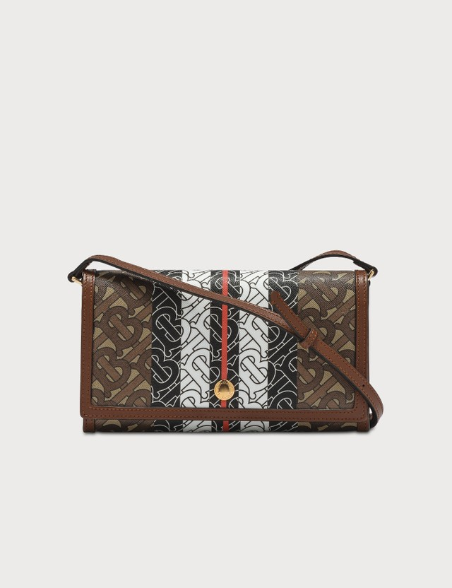 Burberry Monogram Stripe E-canvas Wallet with Strap