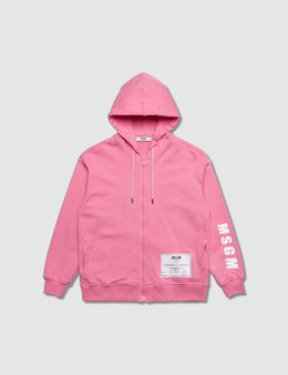 MSGM Plastic Pink Full Zip Hooded Jacket