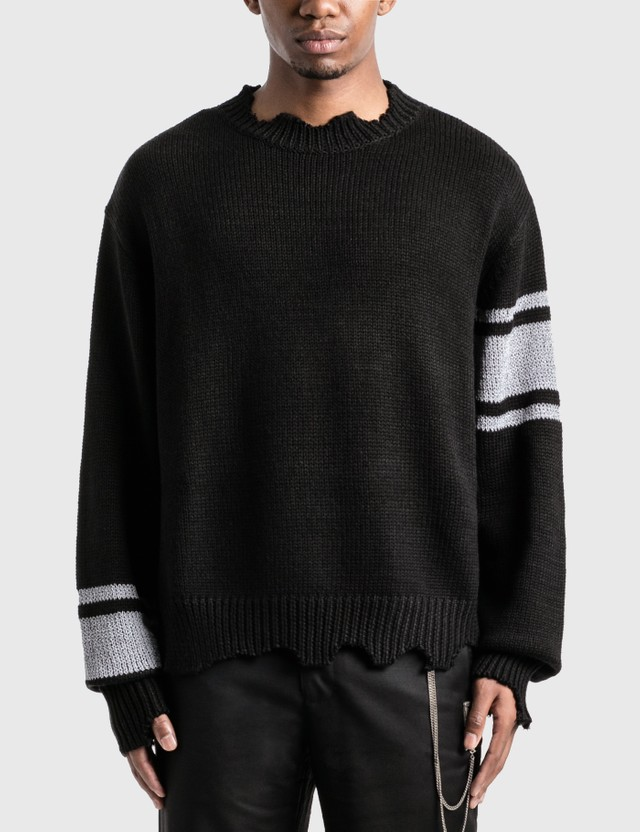 C2H4 Los Angeles C2H4® x Mastermind Japan 니트 스트라이프 후드 스웨터 Black Men