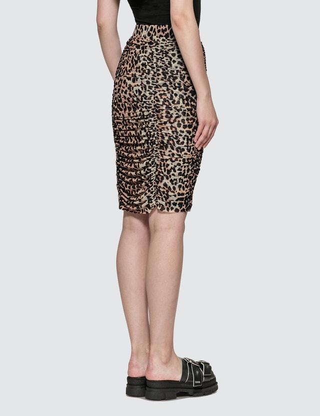 Ganni Printed Mesh Leopard Skirt