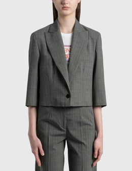 MM6 Maison Margiela Cropped Pinstriped Wool Blazer