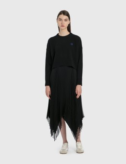 Loewe Asymmetric Pleated Skirt Leather Trim