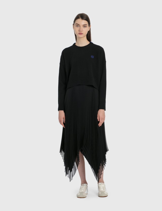 Loewe Asymmetric Pleated Skirt Leather Trim Black Women