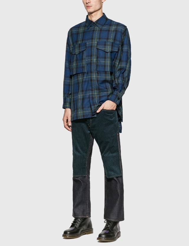 JieDa Tartan Check Parachute Shirt Navy Men