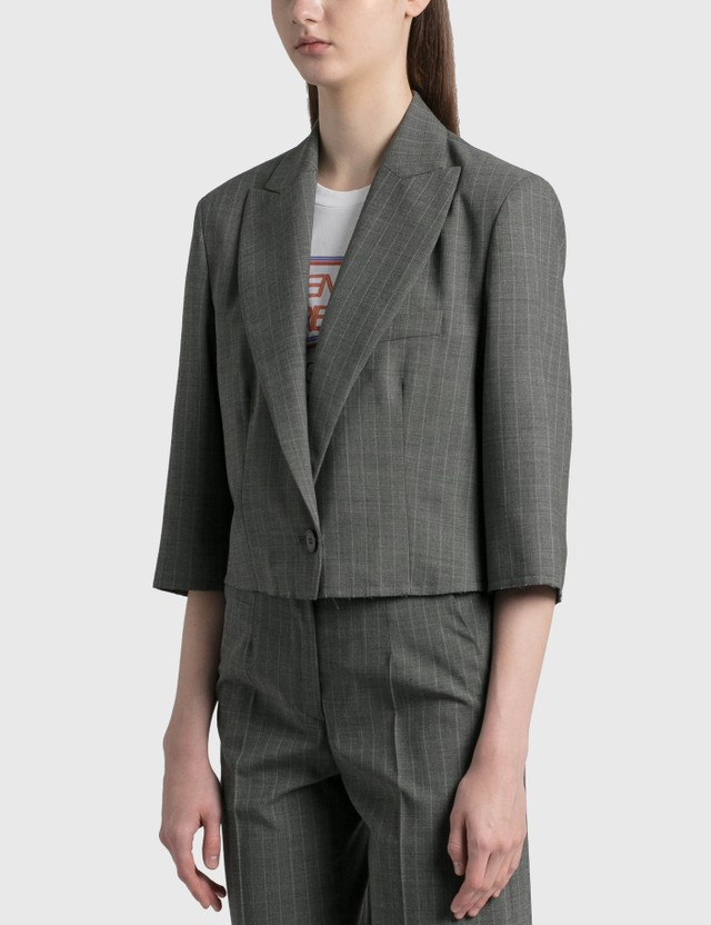 MM6 Maison Margiela Cropped Pinstriped Wool Blazer Grey Melange - White Stripe Women