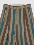 Maison Kitsune Single-pleated Pants Khaki Stripe Men