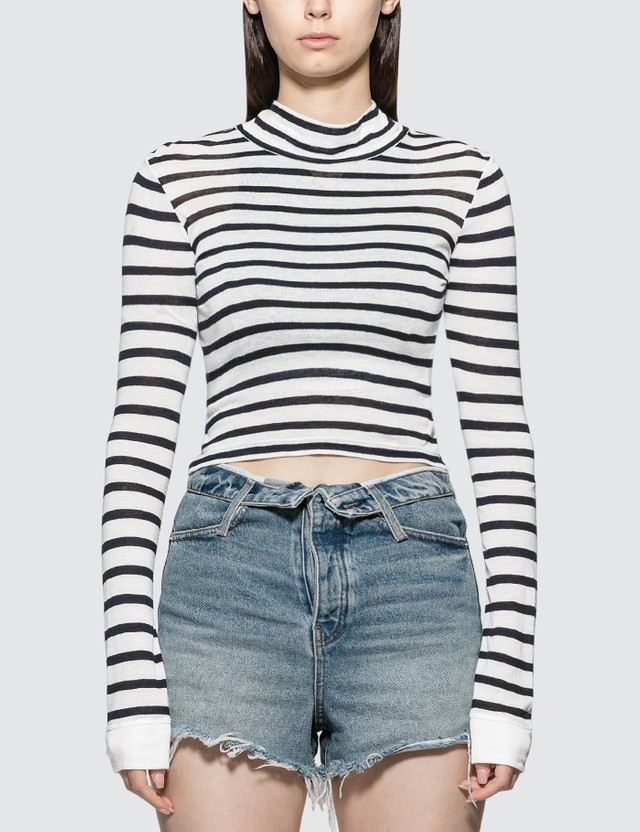 Alexander Wang.T Cropped Slub Mock Neck T-shirt