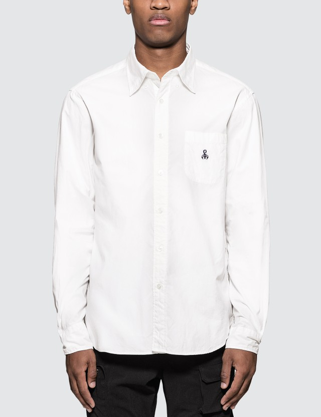SOPHNET. Elbow Patch B.D Shirt White Men