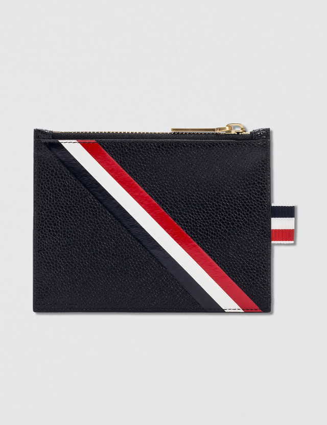 a890ccc64 Thom Browne Pebble Grain and Calf Leather Small Coin Purse with RWB  Diagonal Stripe