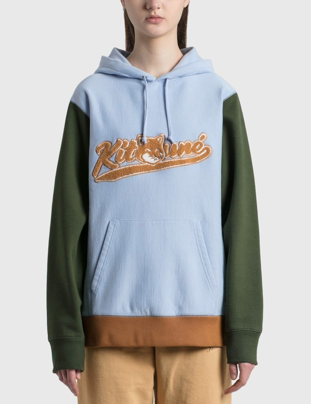 Maison Kitsune Varsity Fox Colorblock Regular Hoodie Light Blue Lb Women