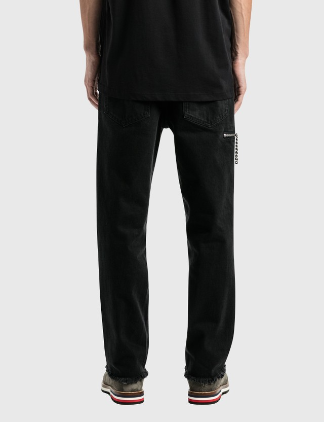 Raf Simons Zipped Pocket Cropped Denim Pants Black Men