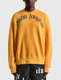 Palm Angels Vintage Wash Curved Logo Crew Sweatshirt 사진