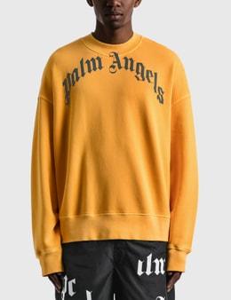 Palm Angels Vintage Wash Curved Logo Crew Sweatshirt