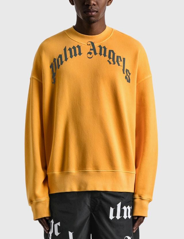 Palm Angels Vintage Wash Curved Logo Crew Sweatshirt Yellow Men