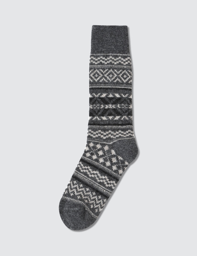 Tabio Men's Wool Large Size Fair Isle Socks