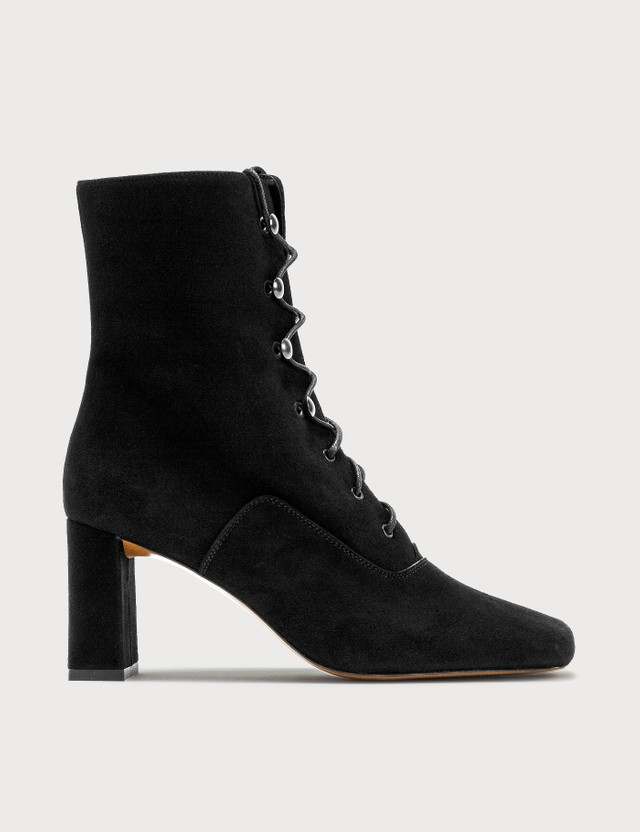 BY FAR Claude Black Cashmere Suede Boots