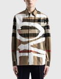 Burberry Love Print Check Stretch Cotton Oversized Shirt Picutre