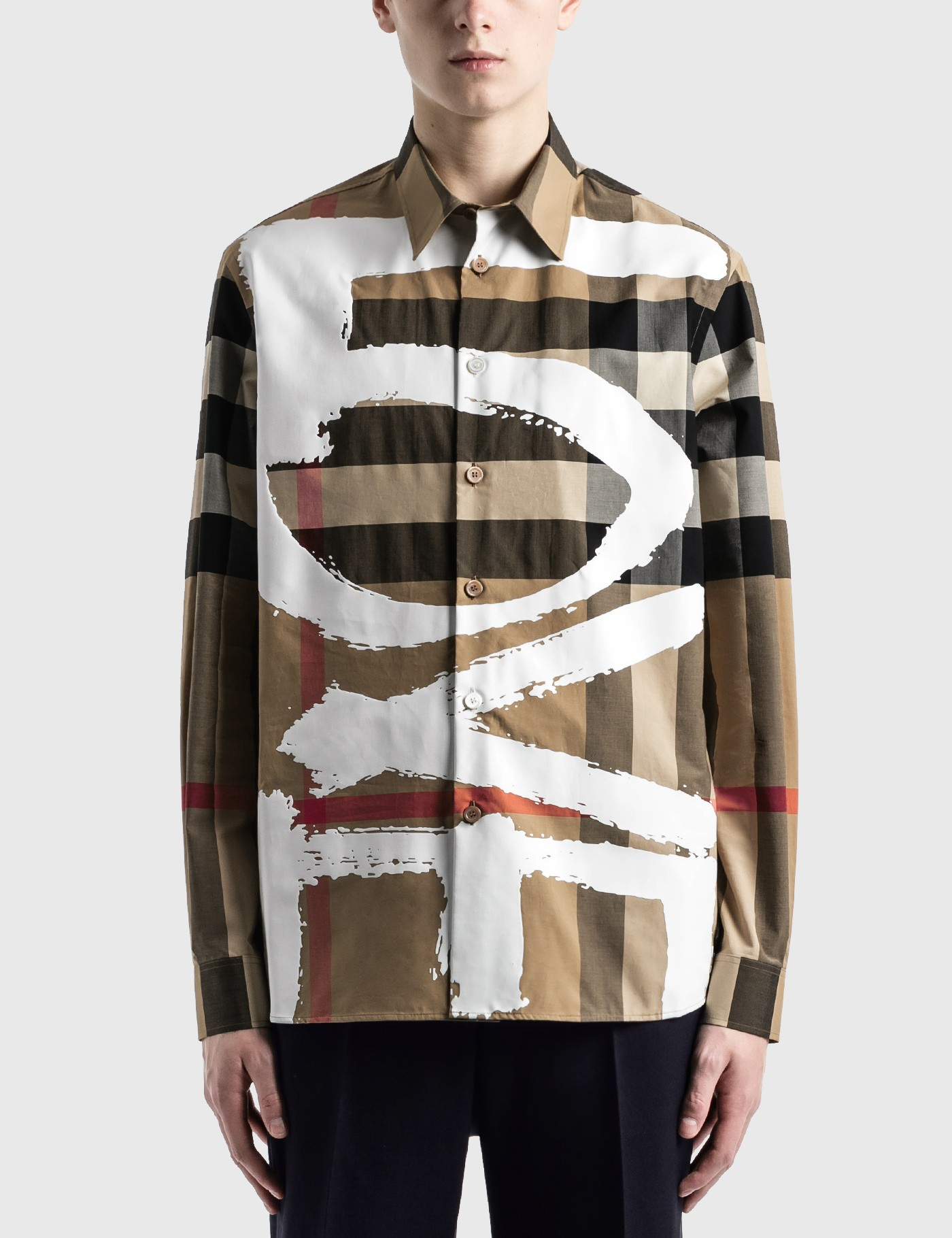 Burberry Cottons LOVE PRINT CHECK STRETCH COTTON OVERSIZED SHIRT