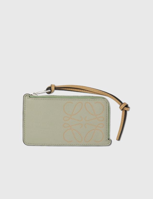 Loewe Brand Coin Cardholder Light Green/dark Gold Women